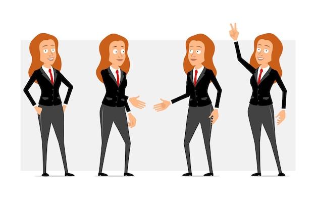 Desenhos animados personagem de mulher de negócios ruiva plana engraçado em terno preto com gravata vermelha. garota posando, mostrando o símbolo da paz e apertando as mãos. pronto para animação. isolado em fundo cinza. conjunto.