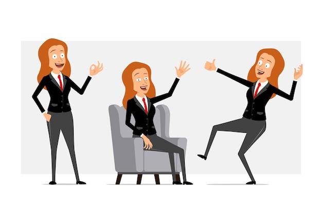 Desenhos animados personagem de mulher de negócios ruiva plana engraçado em terno preto com gravata vermelha. menina descansando, mostrando os polegares para cima e um gesto certo. pronto para animação. isolado em fundo cinza. conjunto.