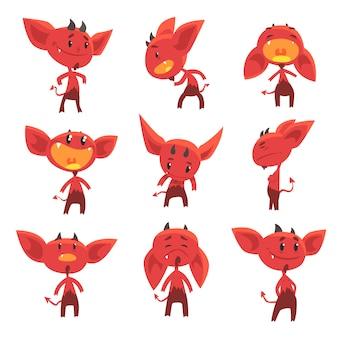 Desenhos animados personagens engraçados diabo vermelho com emoções diferentes conjunto de ilustrações