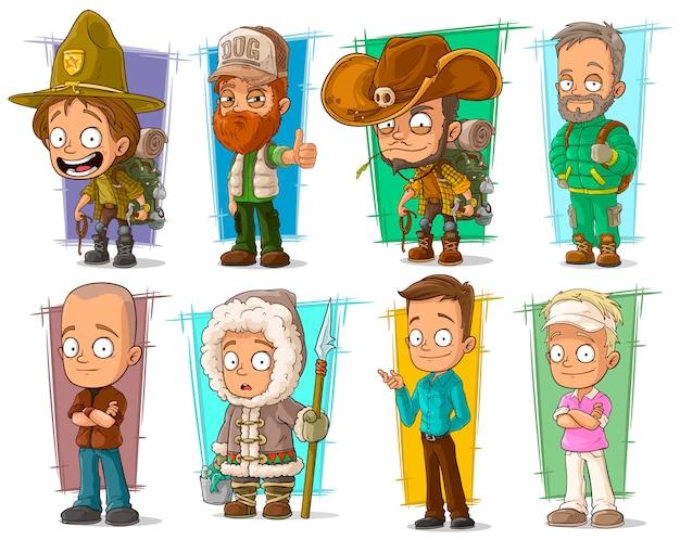 Desenhos animados personagens engraçados engraçados diferentes