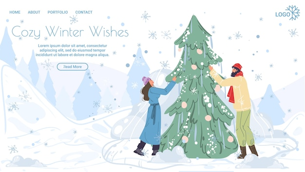 Desenhos animados personagens familiares decorando alegremente a árvore de natal, feliz natal, conceito de feriado de ano novo feliz Vetor Premium