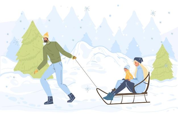 Desenhos animados personagens familiares fazendo atividades ao ar livre de inverno, andar de trenó na neve, feliz natal, conceito de feriado de feliz ano novo