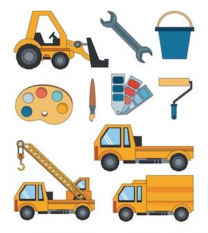 Desenhos animados pesados de ferramentas de engenheiro de construção