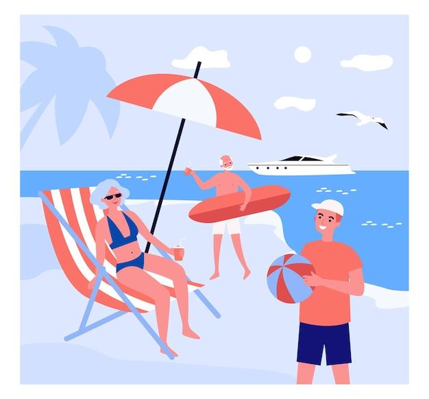 Desenhos animados pessoas curtindo suas férias no resort à beira-mar.