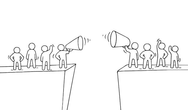 Desenhos animados pessoas pequenas trabalhando perto do abismo. cena do doodle de duas equipes com megafones.