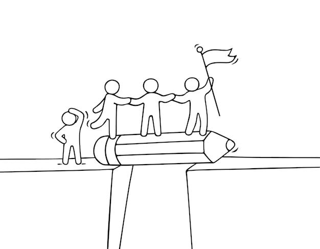 Desenhos animados pessoas pequenas trabalhando perto do abismo.