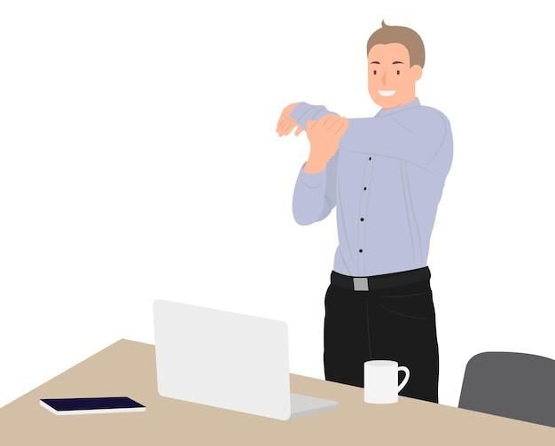Desenhos animados pessoas personagem design feliz empresário exercitando durante o intervalo na mesa no escritório. ideal para impressão e web design.