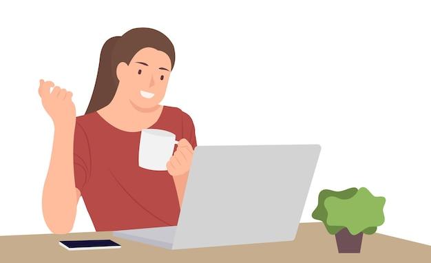 Desenhos animados pessoas personagem design jovem segurando a xícara de café, sentado na frente da mesa usando o laptop.