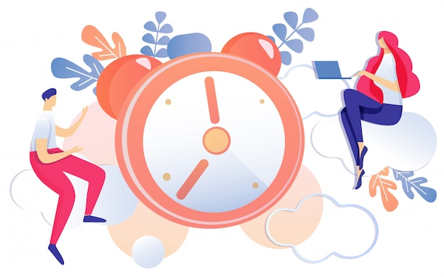 Desenhos animados pessoas relógio relógio mulher trabalho homem cliente