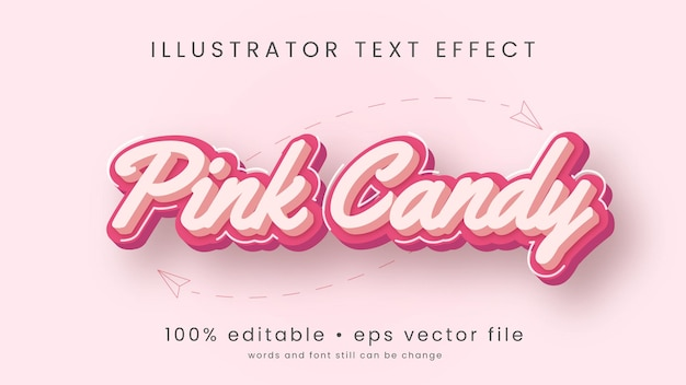 Desenhos animados pink candy e design de efeito de texto pastel