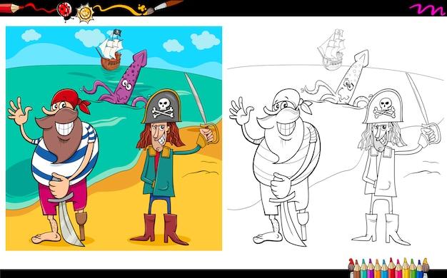 Desenhos animados piratas colorir página