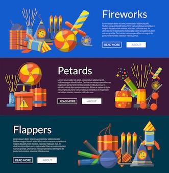 Desenhos animados pirotecnia cor horizontal web banners de ilustração do conjunto