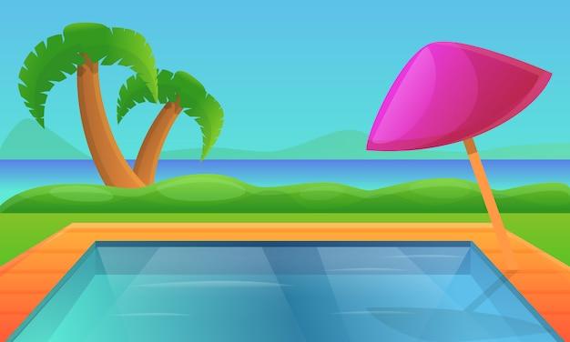 Desenhos animados piscina à beira-mar em um país tropical, ilustração vetorial