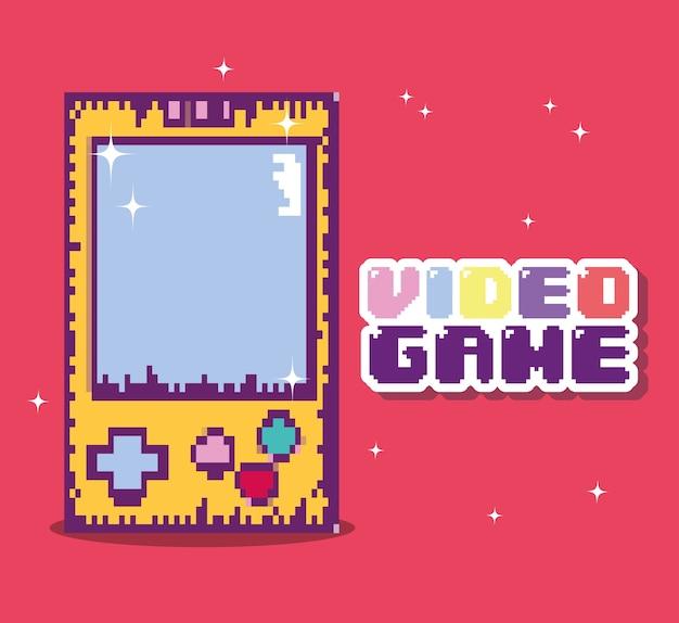 Desenhos animados pixelated do console retro do videogame