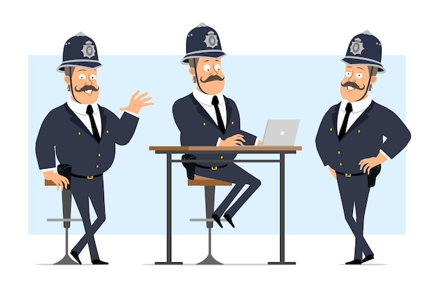 Desenhos animados plana engraçado britânico gordo personagem de policial no capacete e uniforme. rapaz, posando e trabalhando no laptop.
