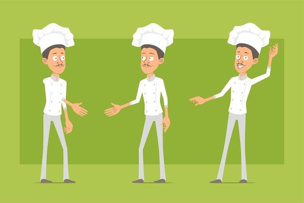 Desenhos animados plana engraçado chef cozinheiro personagem homem de uniforme branco e chapéu de padeiro. homem apertando as mãos e mostrando um gesto de olá.