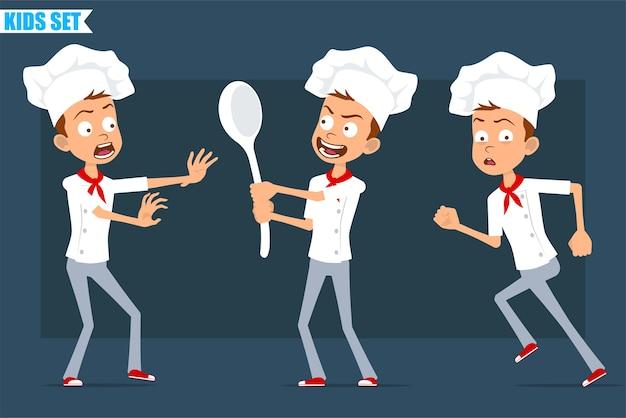 Desenhos animados planos engraçados pouco chef cozinheiro menino personagem de uniforme branco e chapéu de padeiro. criança assustada, segurando uma colher grande e correndo.