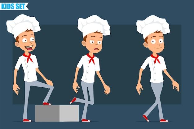 Desenhos animados planos engraçados pouco chef cozinheiro menino personagem de uniforme branco e chapéu de padeiro. criança bem-sucedida e cansada, caminhando em direção ao seu objetivo.