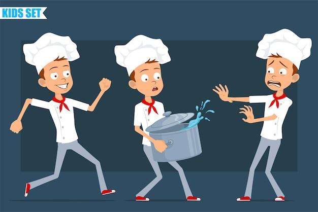 Desenhos animados planos engraçados pouco chef cozinheiro menino personagem de uniforme branco e chapéu de padeiro. criança correndo e carregando uma panela de guisado com água quente.