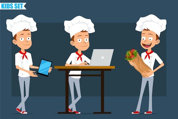 Desenhos animados planos engraçados pouco chef cozinheiro menino personagem de uniforme branco e chapéu de padeiro. criança trabalhando no laptop e carregando shawarma de kebab.