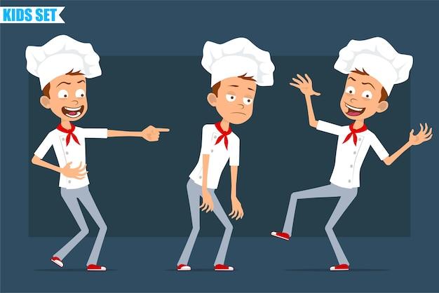 Desenhos animados planos engraçados pouco chef cozinheiro menino personagem de uniforme branco e chapéu de padeiro. criança triste, cansada, rindo, pulando e dançando.