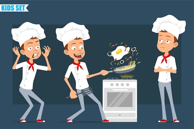 Desenhos animados planos engraçados pouco chef cozinheiro menino personagem de uniforme branco e chapéu de padeiro. garoto assustado e cozinhando ovo frito com bacon.