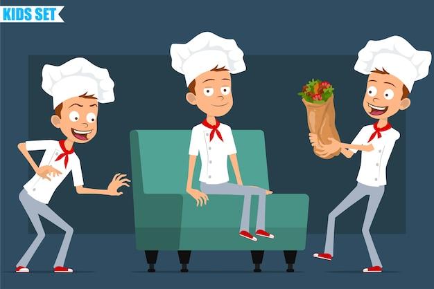Desenhos animados planos engraçados pouco chef cozinheiro menino personagem de uniforme branco e chapéu de padeiro. garoto descansando no sofá e carregando saboroso shawarma.