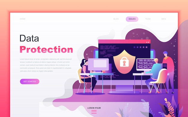 Desenhos animados planos modernos de proteção de dados