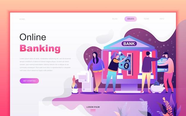 Desenhos animados planos modernos de serviços bancários on-line