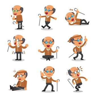 Desenhos animados poses de personagem sênior