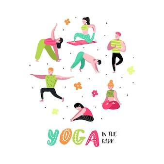 Desenhos animados praticando ioga