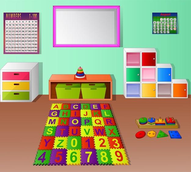 Desenhos animados prées-escolar da sala de aula do jardim de infância