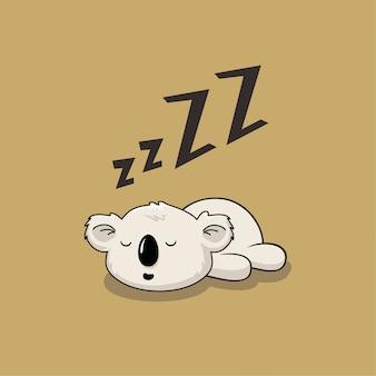 Desenhos animados preguiçosos do bebê coala animais bonitos do sono