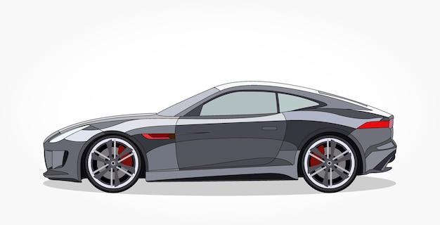 Desenhos animados pretos de carros esportivos com efeito detalhado de lado e sombra