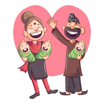 Desenhos animados punjabi sardar com família