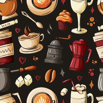 Desenhos animados rabiscos desenhados à mão, a propósito de café, cafeteria