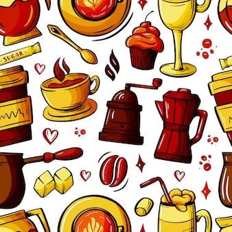 Desenhos animados rabiscos desenhados à mão sobre o assunto do padrão sem emenda de café.
