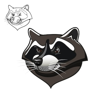 Desenhos animados raivosos de guaxinim cinza com dentes à mostra, incluindo uma variante de contorno no canto superior, para mascote esportivo ou desenho de tatuagem