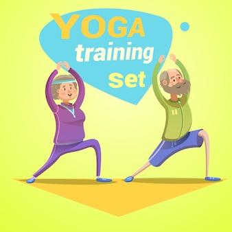 Desenhos animados retrô de ioga com idosos felizes fazendo ilustração vetorial de treino