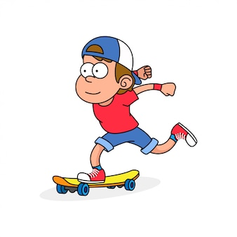 Desenhos animados retrô de skatista
