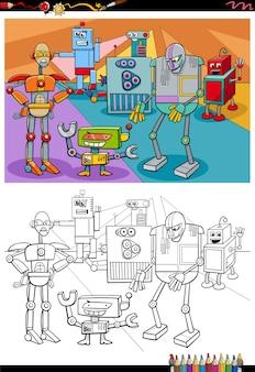 Desenhos animados robôs personagens de fantasia para colorir página
