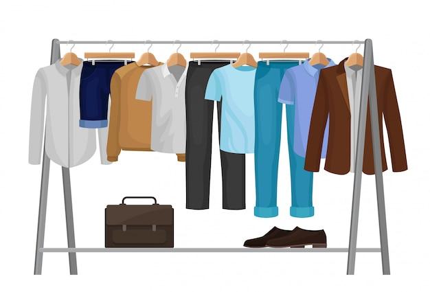 Desenhos animados roupas em cabides. moda para homem.