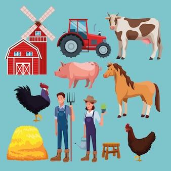 Desenhos animados rurais de fazenda