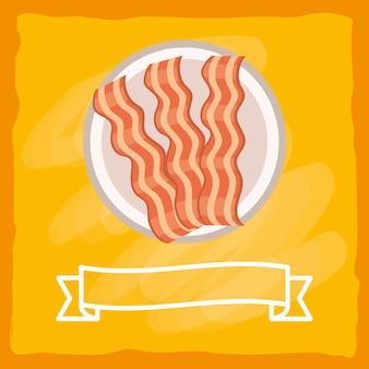 Desenhos animados saborosos deliciosos bacon