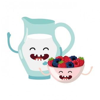 Desenhos animados saborosos deliciosos de leite