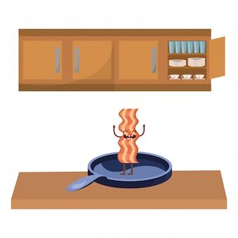 Desenhos animados saborosos deliciosos do bacon do kawaii