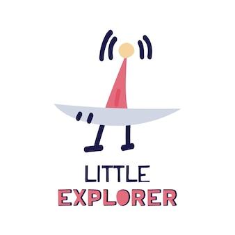 Desenhos animados satélite plana voando com o céu de estrelas. ilustração plana com texto pequeno explorador em fundo branco.