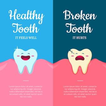 Desenhos animados saudáveis e doentes dentes quebrados na boca com gengivas