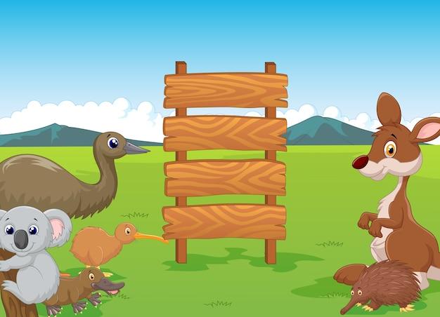 Desenhos animados selvagens da austrália com sinal de madeira