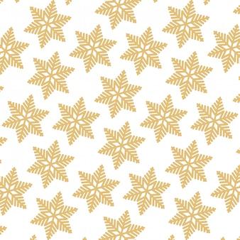 Desenhos animados sem costura padrão de luxo e elegante floco de neve